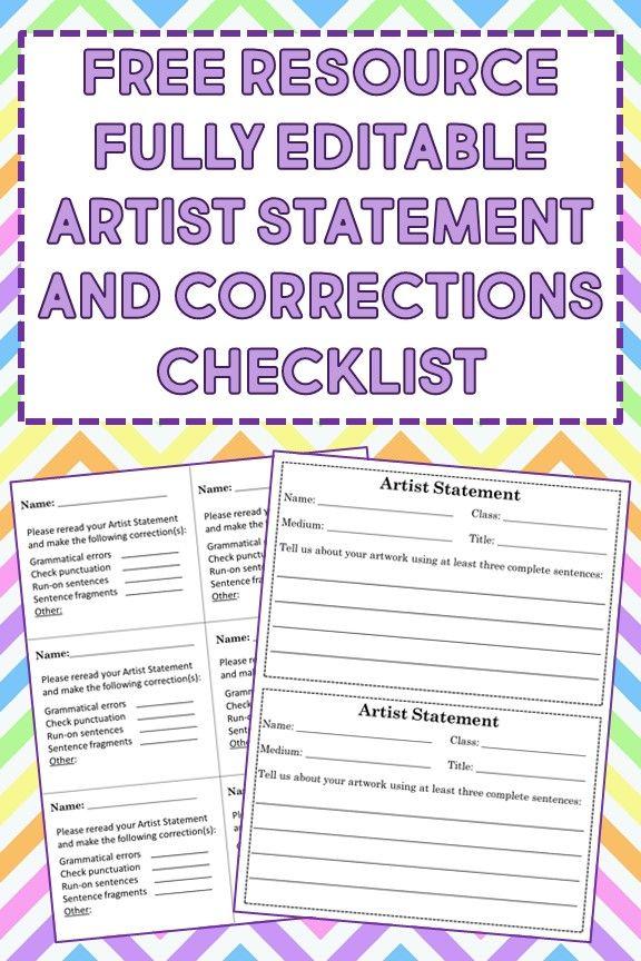 Artist Statements and Teacher Checklist Editable