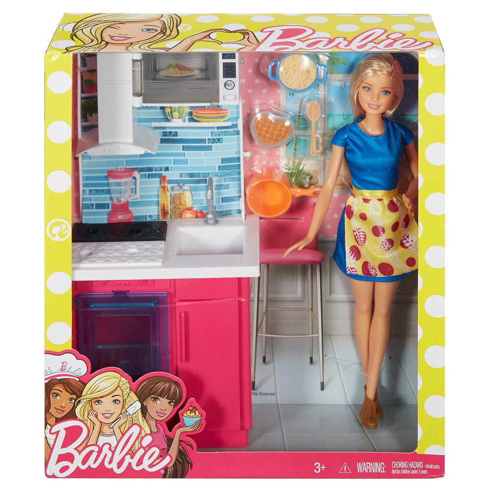 Barbie Doll And Furniture Kitchen Playset Microwave On Top