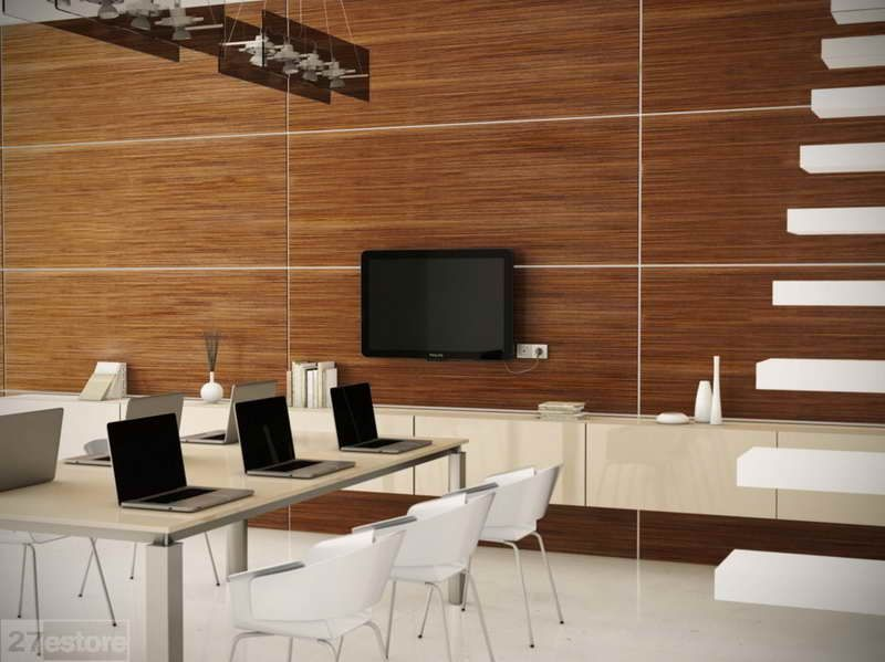 de madera para paredes moderna con el ordenador porttil