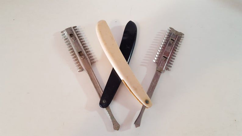 2 vintage mustache and beard trimmers straight razor style