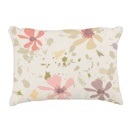 Abstract Modern Floral Spring Blooms Brushtrokes Accent Pillow