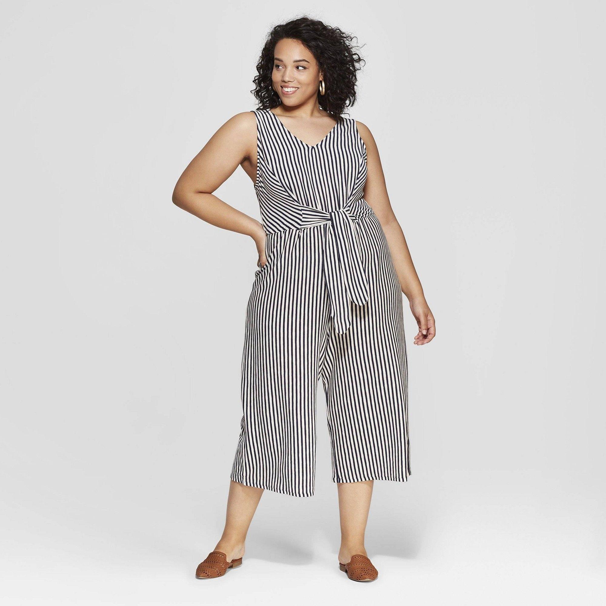 e4b276bdcf9b Women s Plus Size Striped Sleeveless V-Neck Tie Front Jumpsuit - Universal  Thread Blue 4X