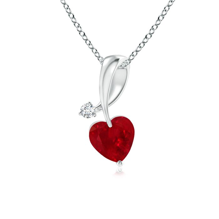 14Kt Gold Created Ruby /& Diamond Heart Mom Pendant Necklace