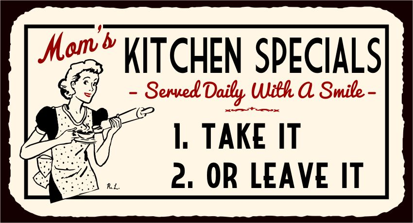 Moms Kitchen Specials Served With Smile Vintage Metal Kitchen Tin Sign Funny Kitchen Signs Retro Tin Signs Signs