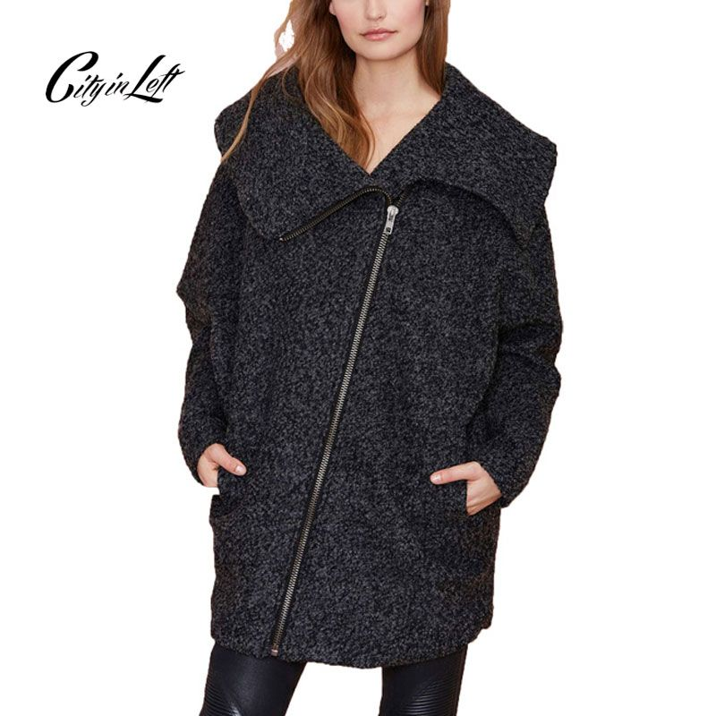 >> Click to Buy << City 2017 Winter Women Coat Outwear Turn Down Collar Long Sleeve Dark Grey Wool Cotton Zipper Custom Warm Outwear Coat 591 #Affiliate