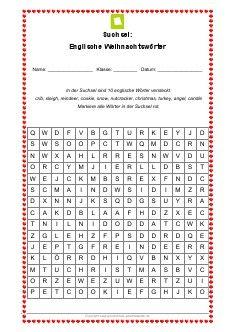 Arbeitsblatt: Englische Weihnachtswörter - Suchsel | German