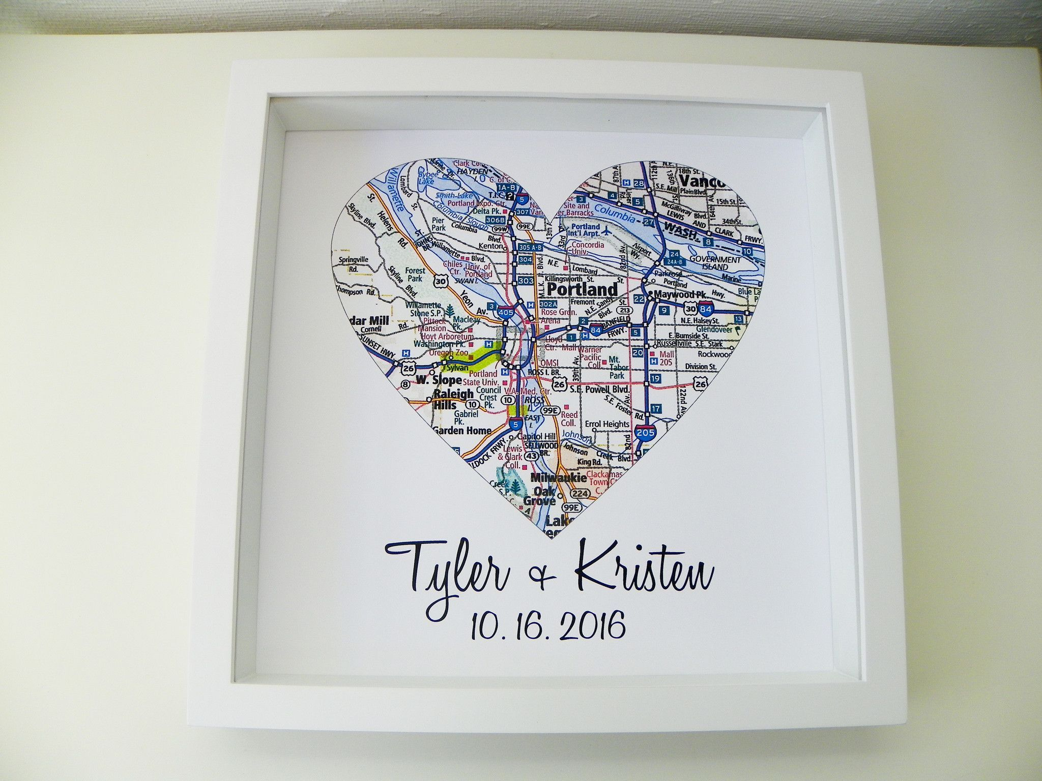 Unique Wedding Gift Personalized Map Heart Art Gift Custom Wedding ...