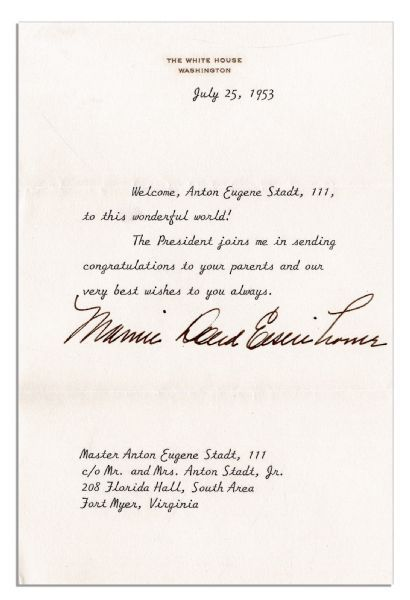 Mamie Eisenhower Typed Letter Signed On White House Stationery To