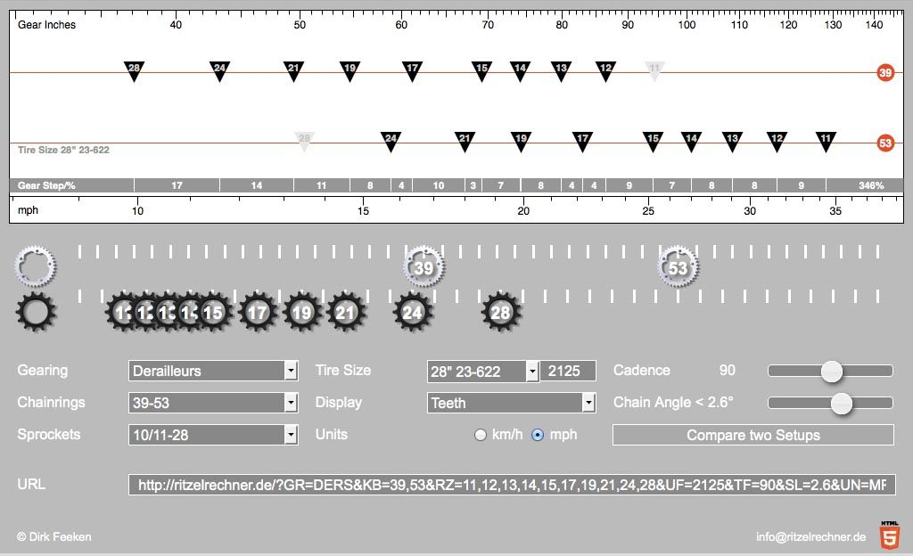 The bicycle gear calculator displays graphically the gearing