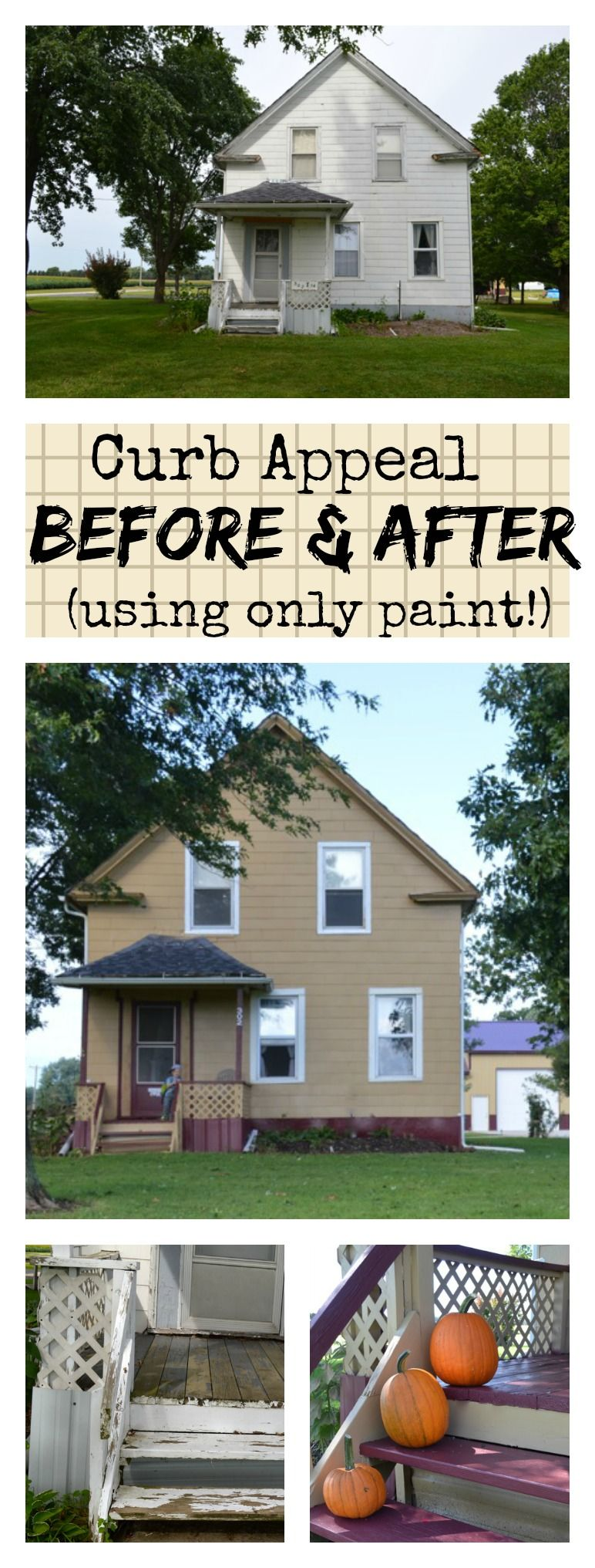 This curb appeal project was brought to you by only paint. This post has great inspiration and tips for painting the exterior of your house (wood, aluminum or even vinyl). And this entire paint job was completed in only one day. A truly amazing before and after.