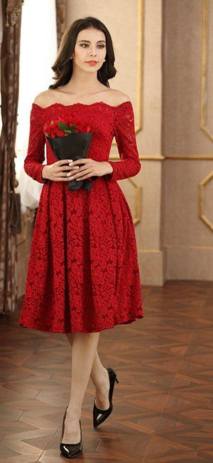 66819e6164 MissMay Women s Vintage Floral Lace Long Sleeve Boat Neck Cocktail Formal  Swing Dress