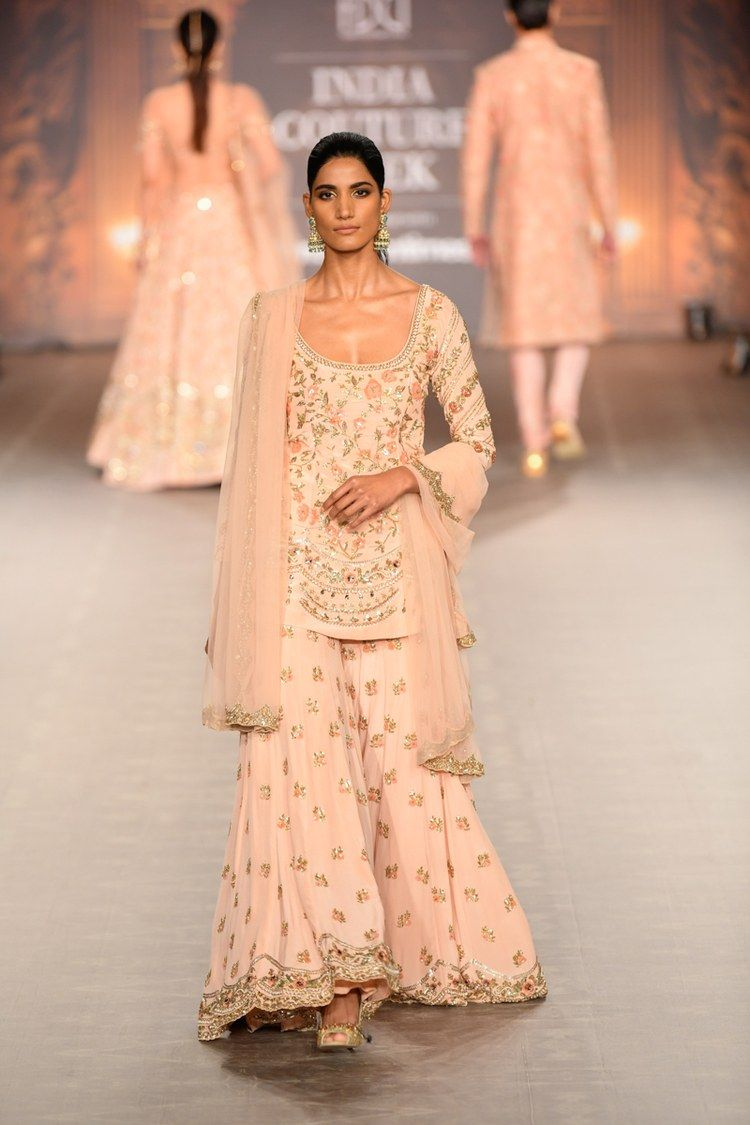 Light pink embroidered Shyamal Bhumika Sharara