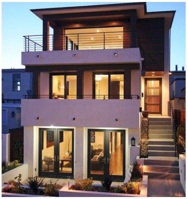 fachada de casa moderna de tres pisos fachadas casa