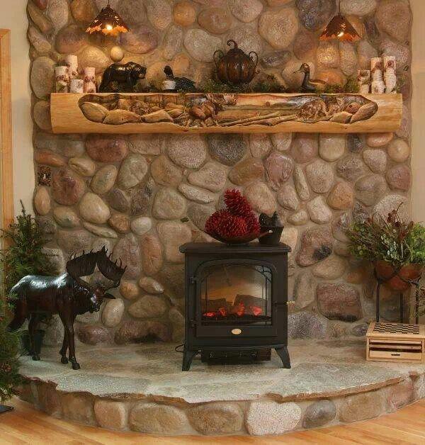 Love Home Cabin Interior Wood Stove Hearth