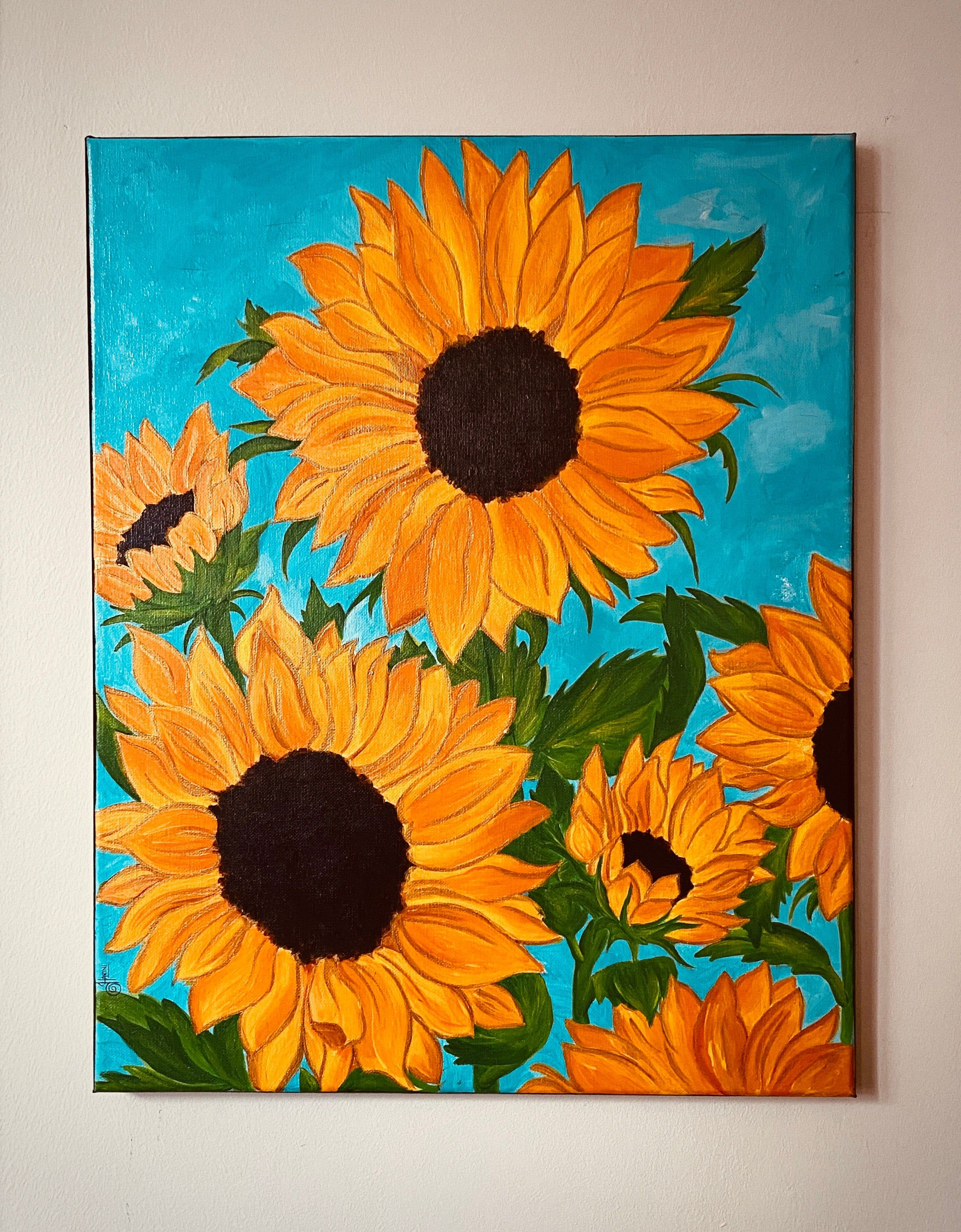 Sunflowers in the wild Original hand painted acrylic painting | Etsy