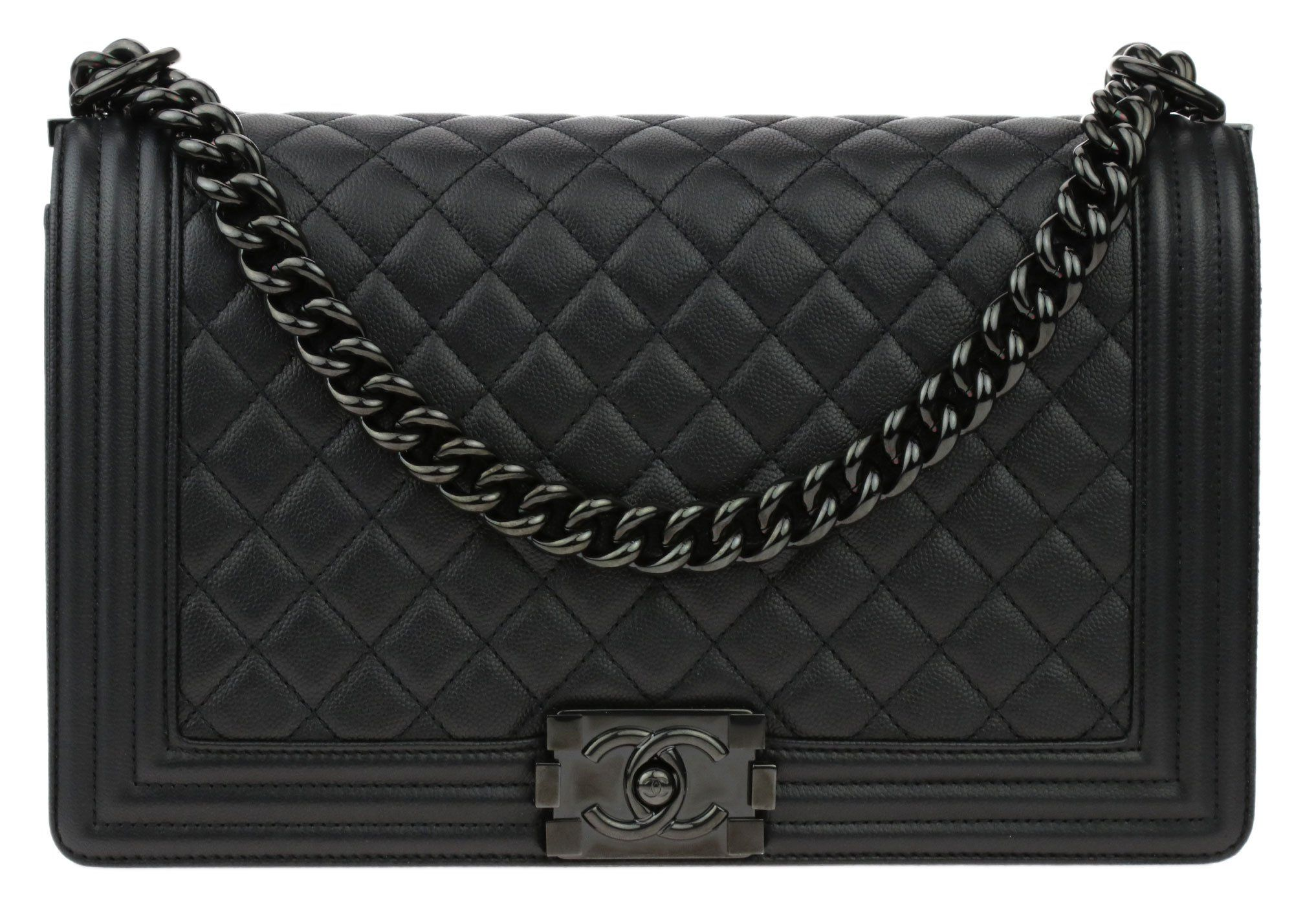 aa51d4630545 🖤 Chanel So Black Quilted Caviar New Medium Boy Flap Bag