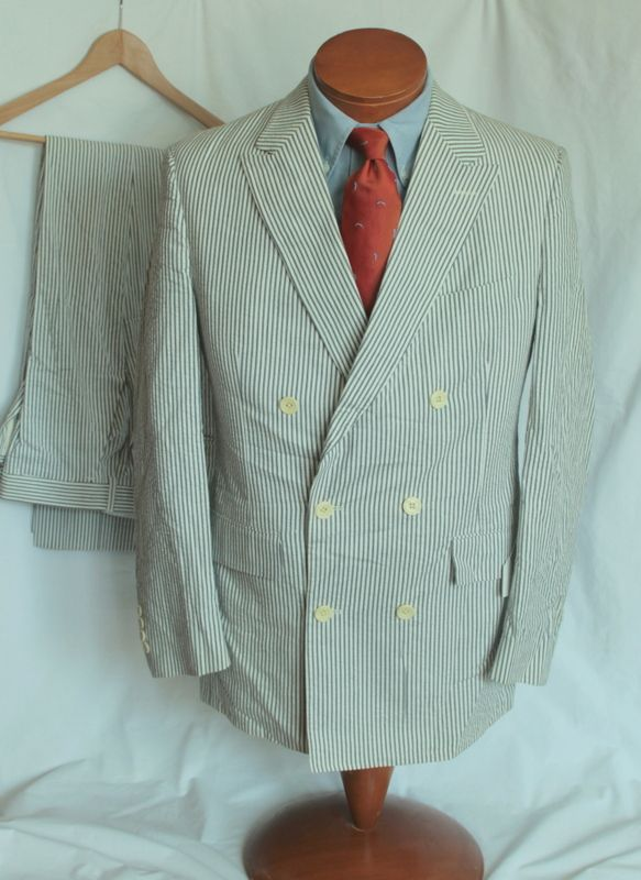 Vintage Brooks Brothers Double Breasted Seersucker Suit Well