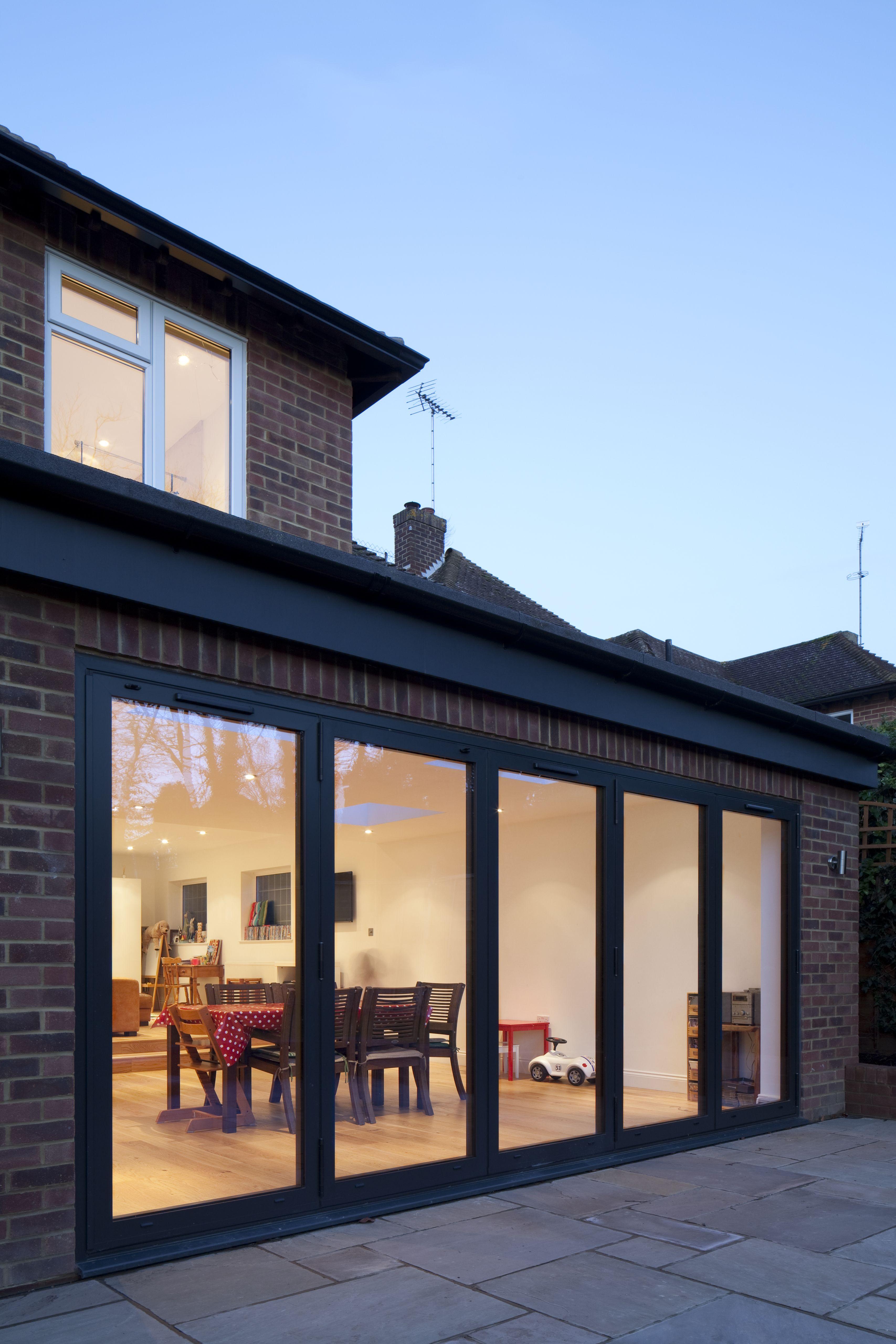 rear extension brick finish dark grey aluminium bi. Black Bedroom Furniture Sets. Home Design Ideas