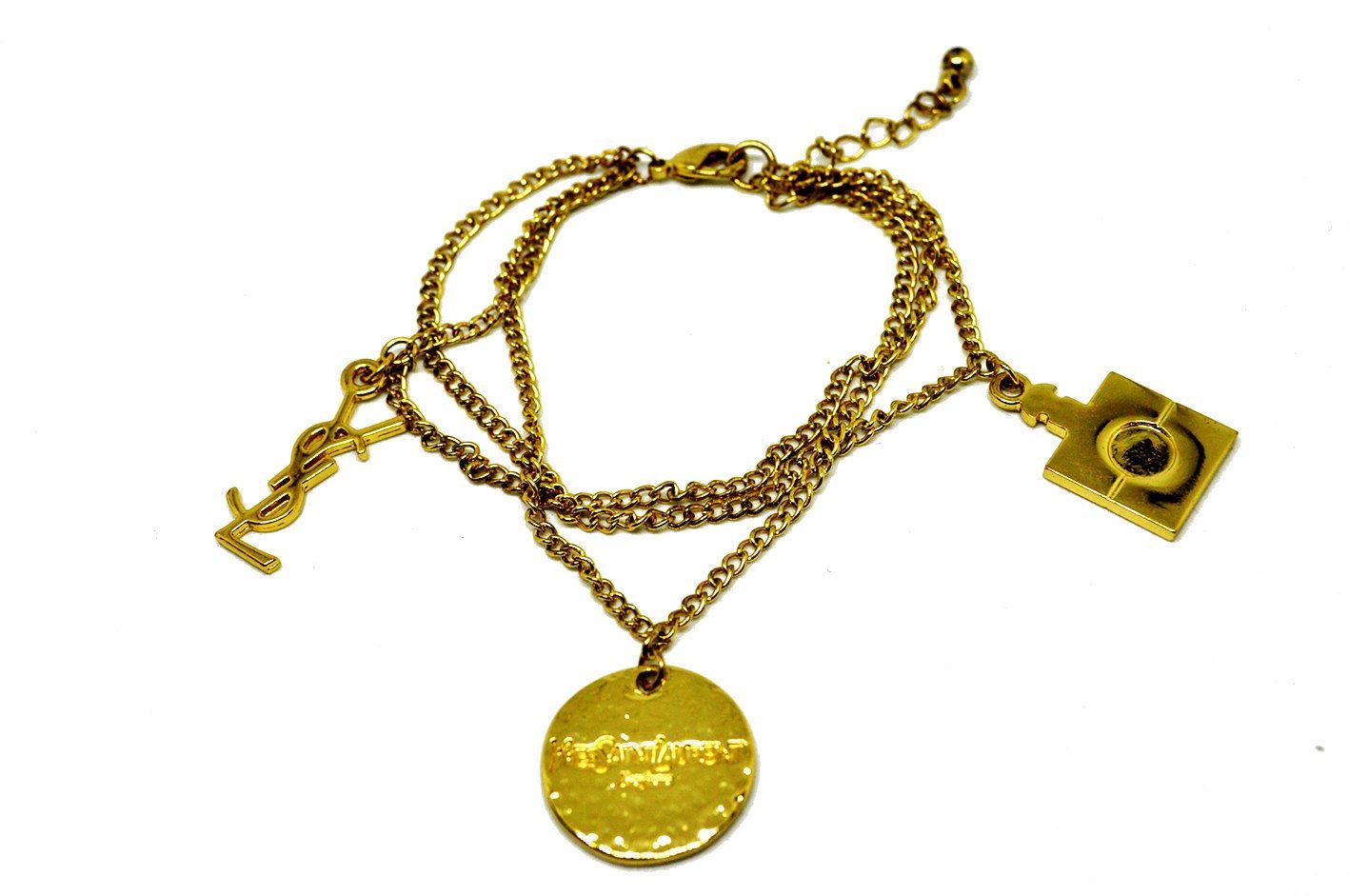 49919d68df0 Yves Saint Laurent - bracelet vintage YSL, bracelet triple chaînes  breloques dorés, bijoux créateur français, bijou parfum, cadeau pour elle