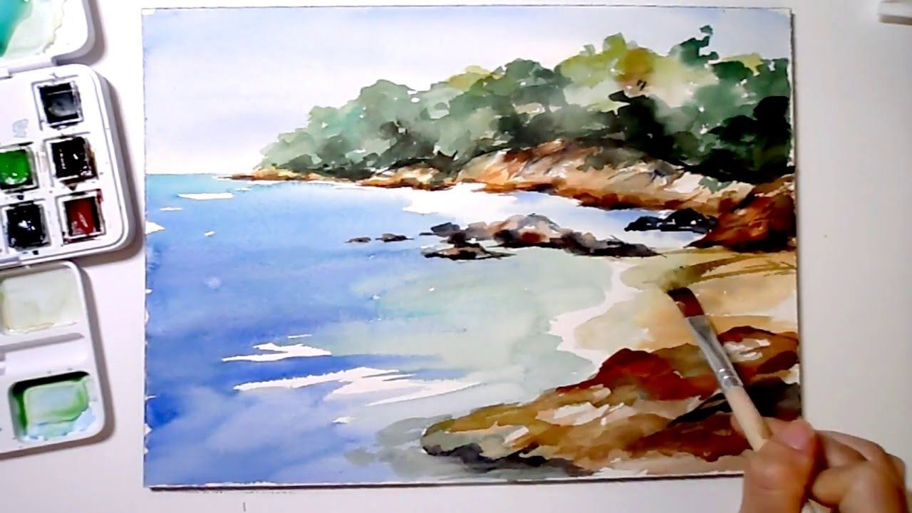 Speed-painting Sea shore in watercolor