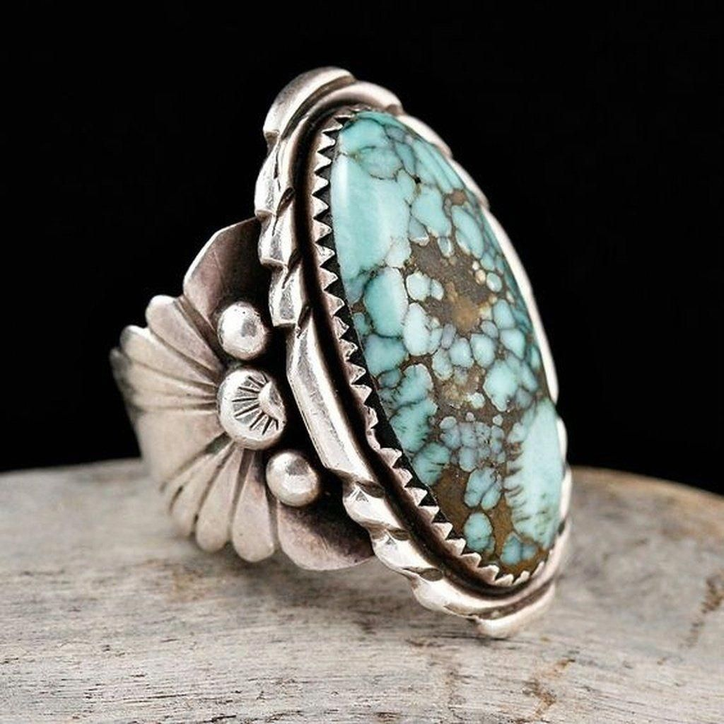 Silver Turquoise Gemstone Floral Flower Anniversary