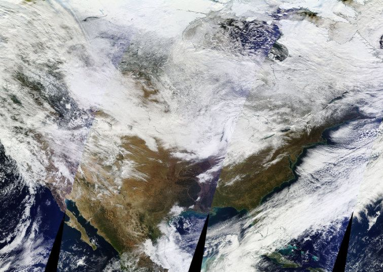 North American sub continent on the 19th November, 2014 as near record levels of snow fell across many parts of the United States - which is over 6 feet deep in many areas