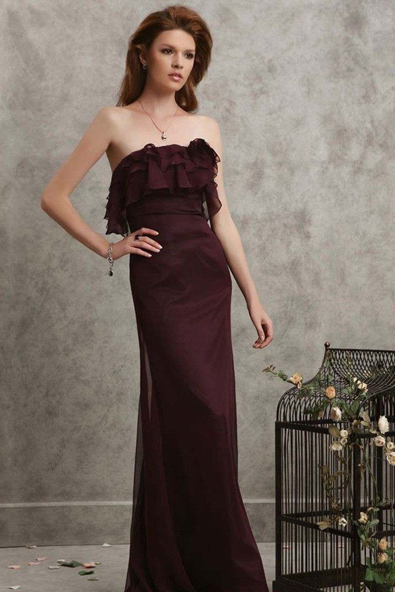 Burgundy chiffon floorlength aline dress long dresses