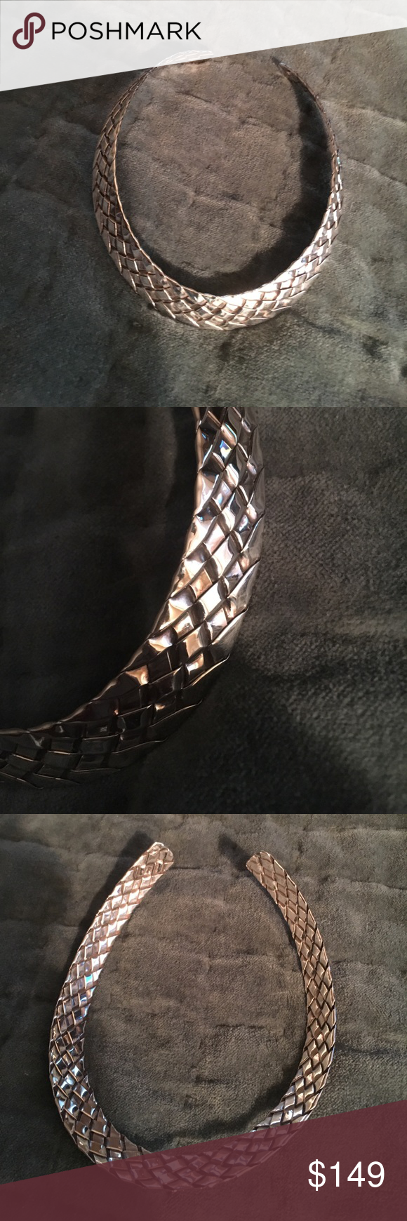 Sterling silver woven choker Sterling silver stamped woven choker Vintage Jewelry Necklaces