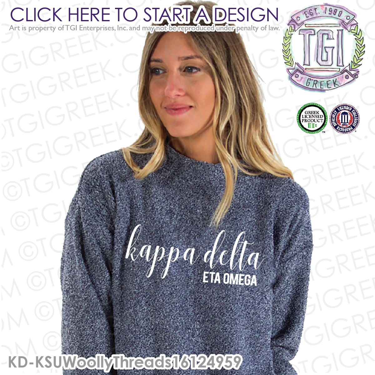 Licensed Sorority College Kappa Delta KD Gift Long Sleeve T-Shirts Tee For Women