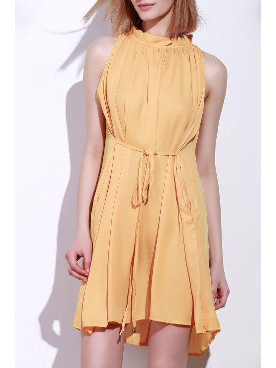 Round Neck Ruffle Tie-Up Sleeveless Dress - DEEP YELLOW L