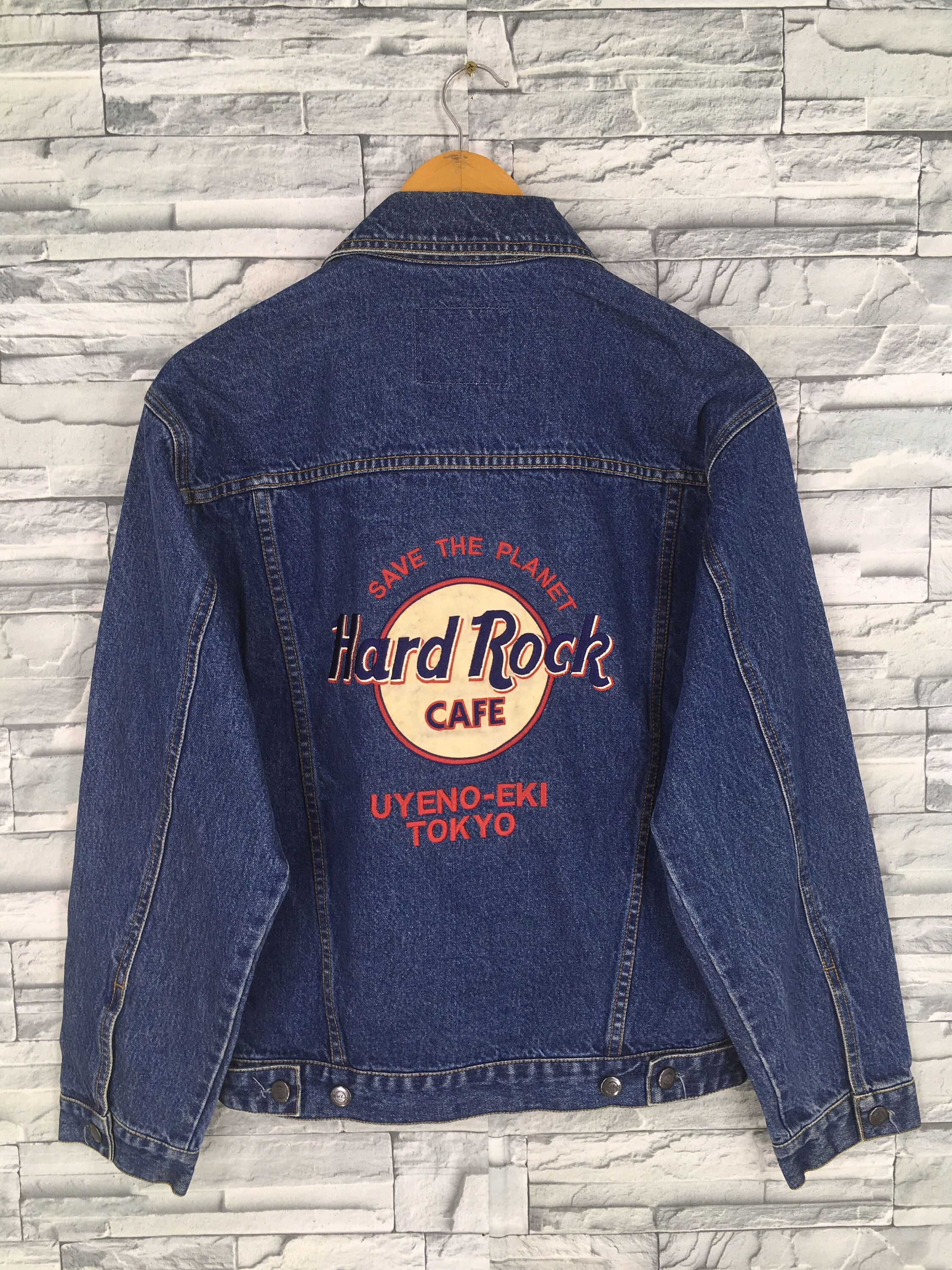 Excited To Share This Item From My Etsy Shop Vintage Hard Rock Cafe Trucker Denim Jacket 90s Xsmall Hard Roc Blue Jean Jacket Polo Shirt Women Jacket Buttons [ 3000 x 2250 Pixel ]