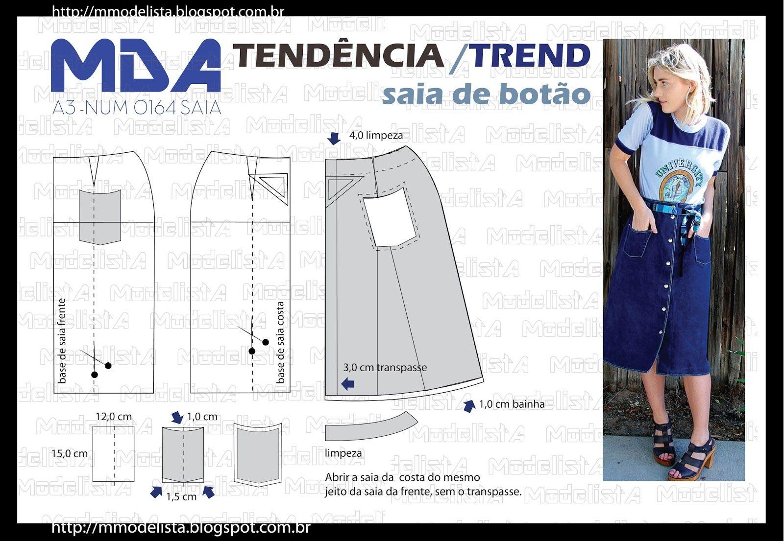 ModelistA: A3 NUMo 0164 SKIRT SAIA BOTÃO