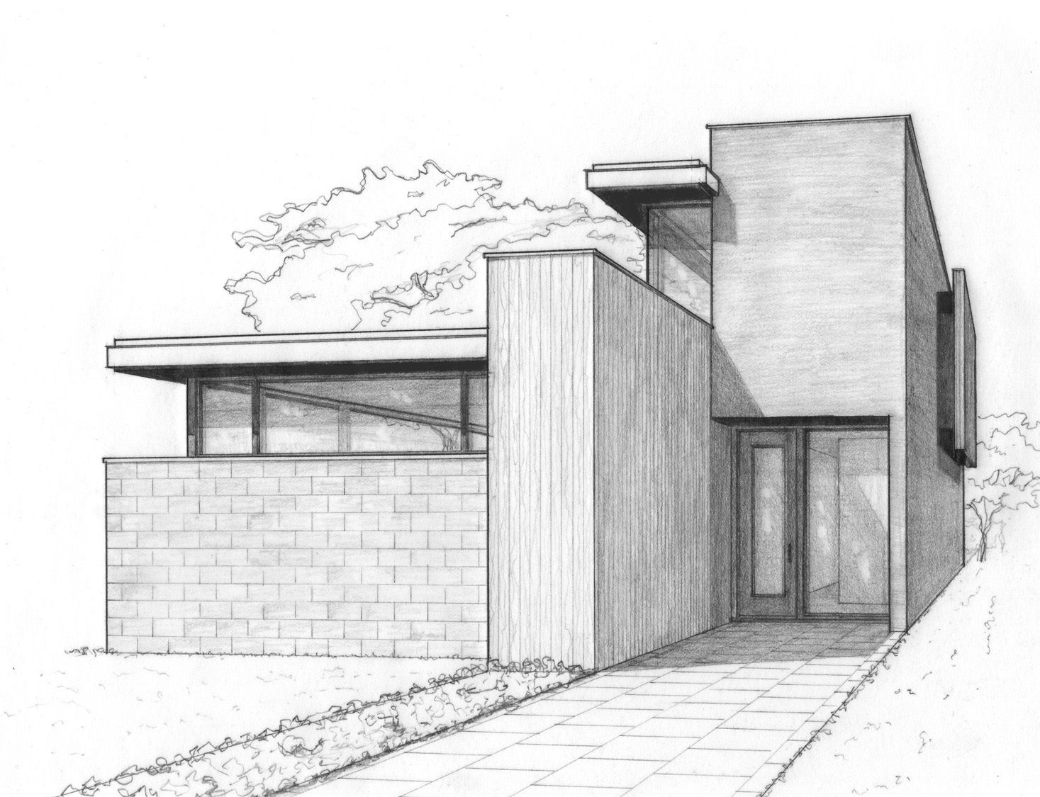 A perspective sketch for a house in the city work for Architecture modern house design 2 point perspective view