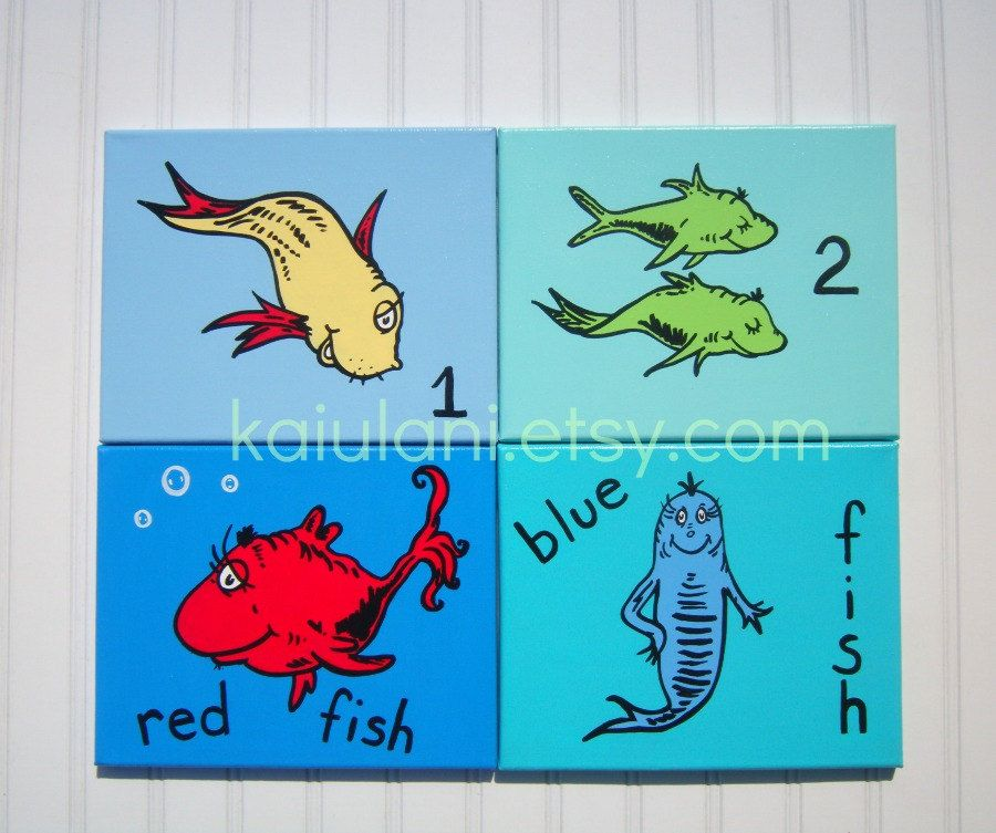 dr seuss painting kids art one fish two fish red. Black Bedroom Furniture Sets. Home Design Ideas