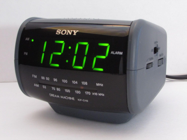Sony Dream Machine Alarm Clock Radio Icf C112 Am Fm Grey Large
