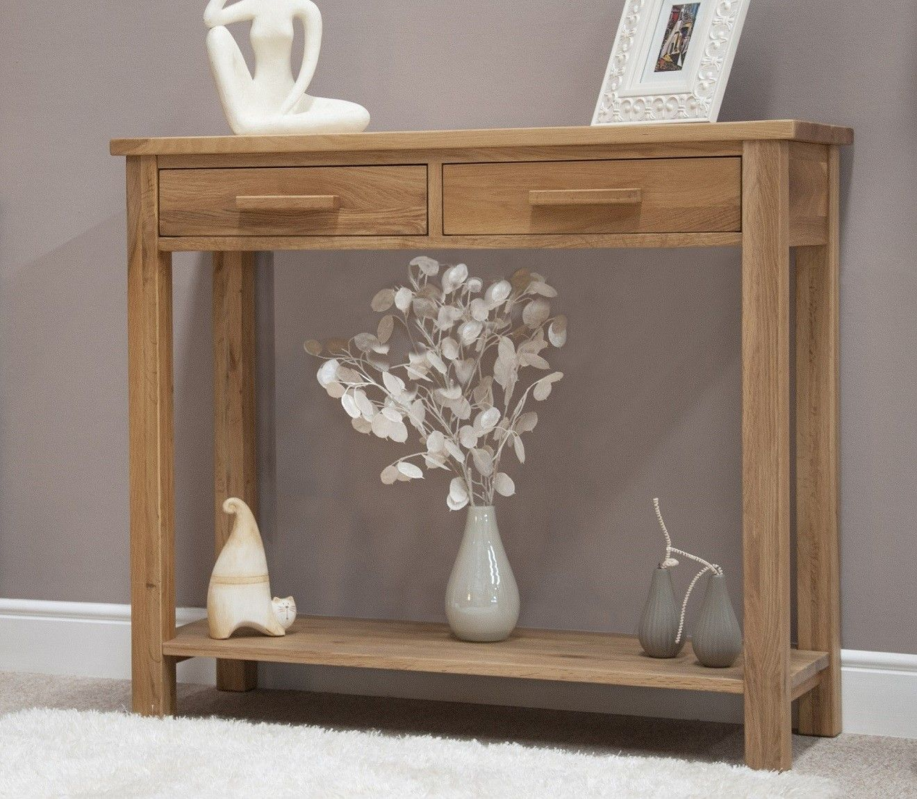 Opus Solid Oak Hall Console Table Small Hallway Table Console