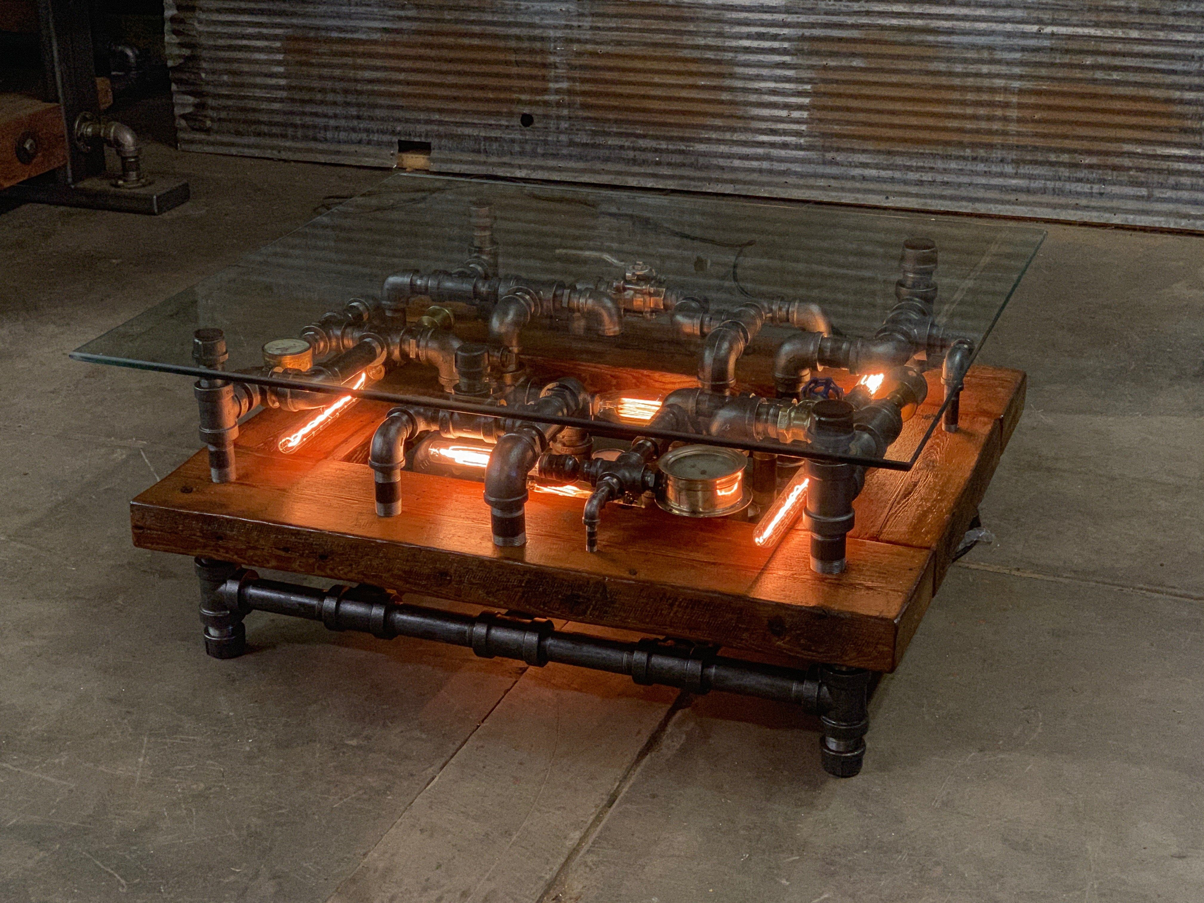 Steampunk Industrial Barnwood Coffee Table Machine Age Lamps