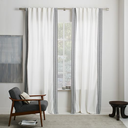 Striped Weave Curtain West Elm Peltz Living Room