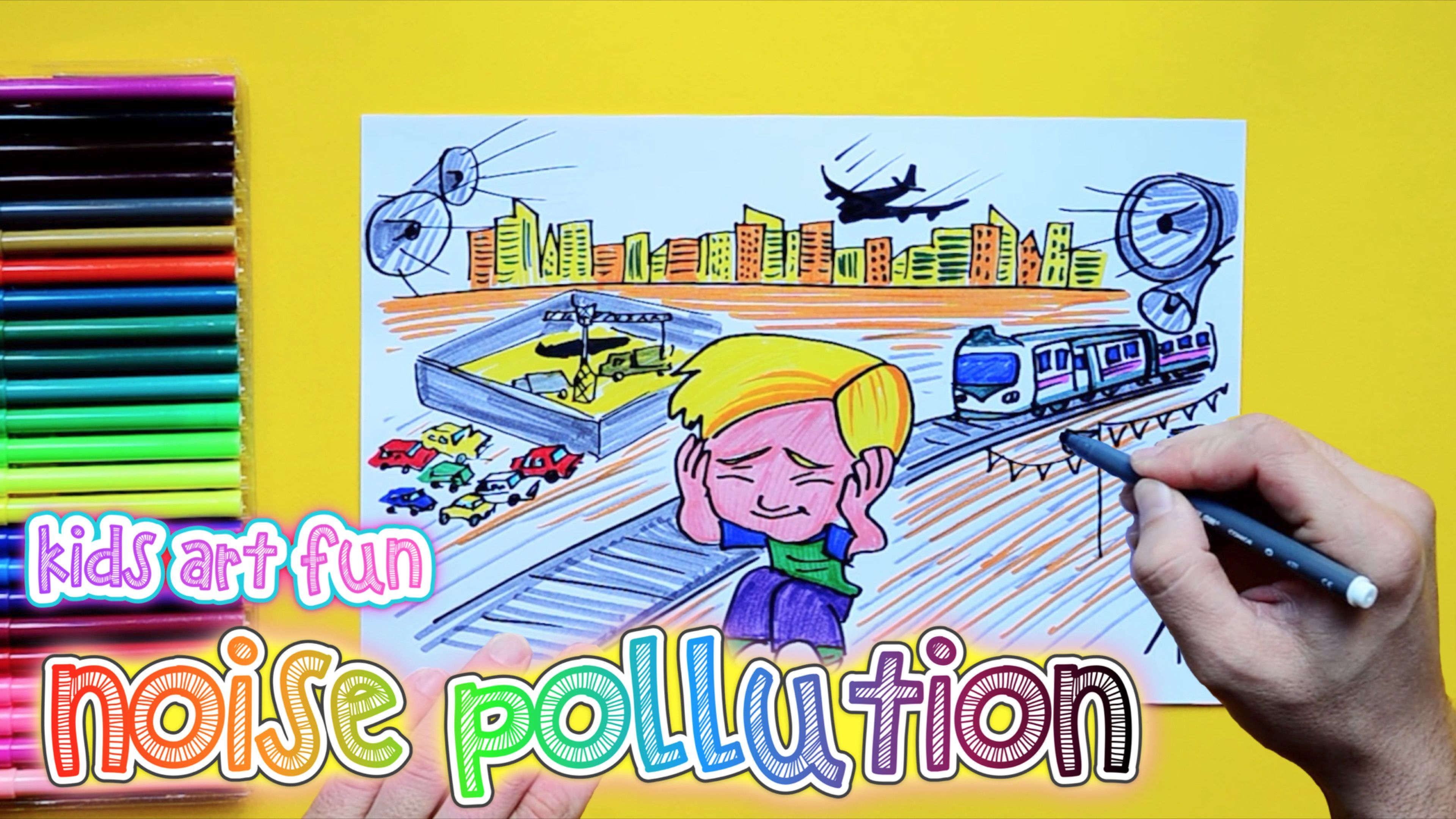 How To Draw And Color Noise Pollution