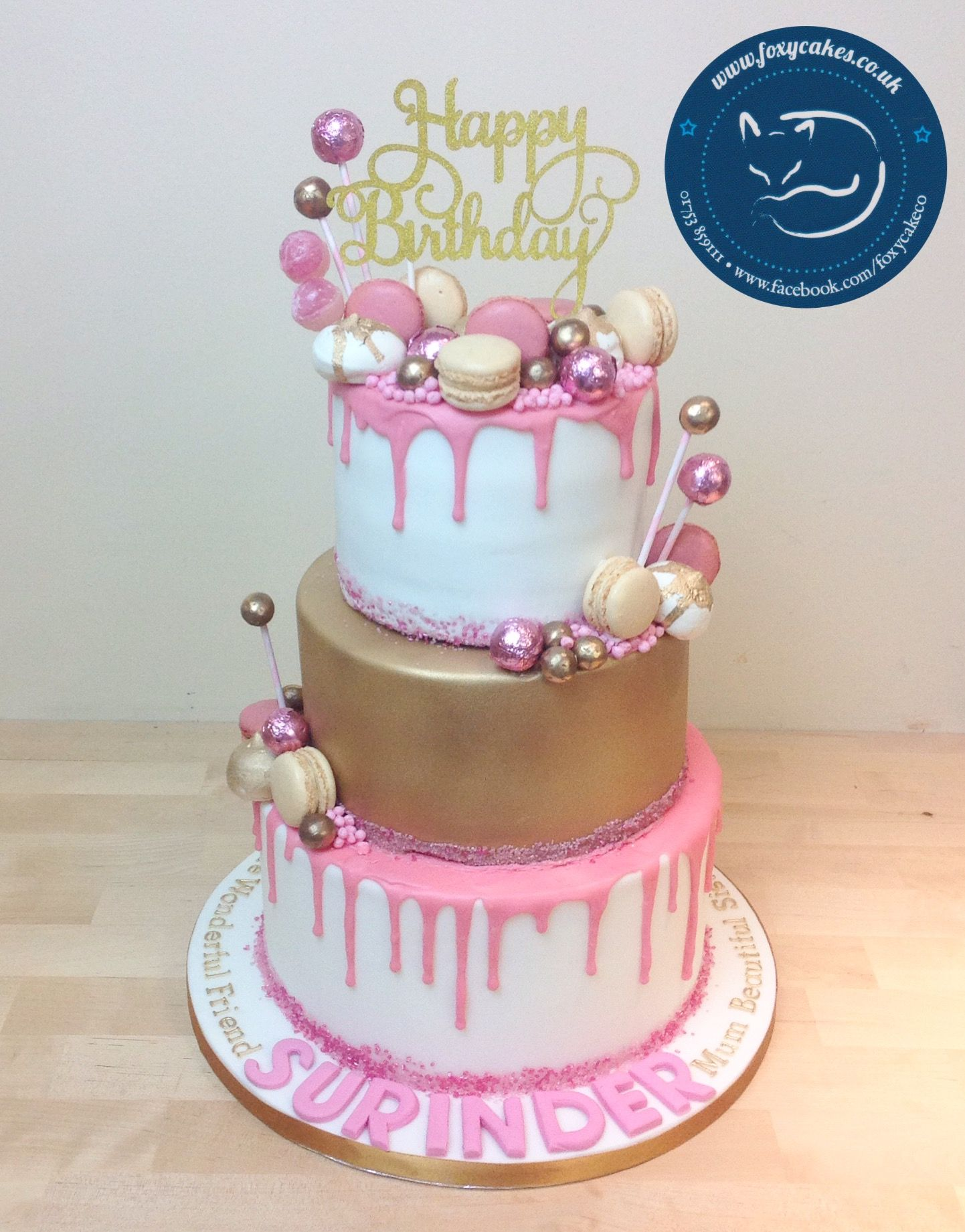 Strange Pink And Gold Drip Cake Made By The Foxy Cake Co 30Th Birthday Funny Birthday Cards Online Alyptdamsfinfo