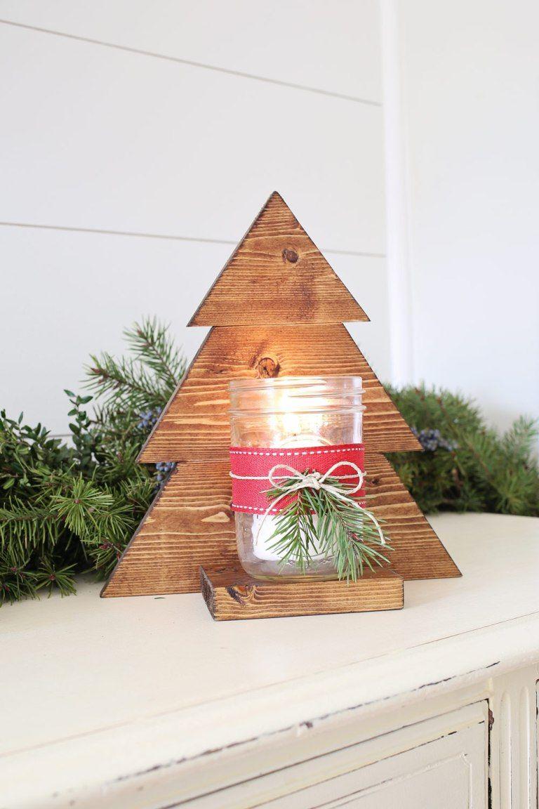 DIY Wood Christmas Tree Mason Jar Sconce | Wood christmas decorations, Wood christmas tree ...