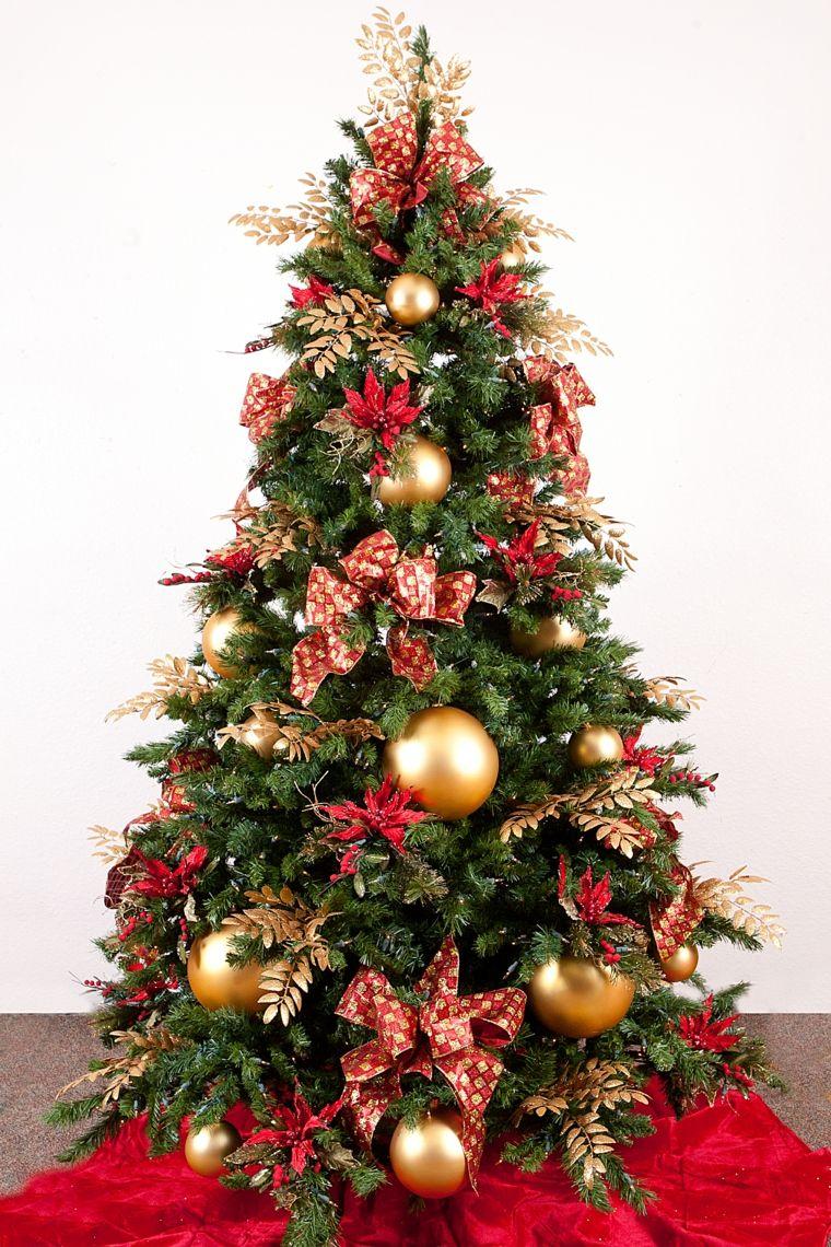 Color Rojo Y Oro Ideas Para Los Adornos De Navidad Decoracion De Arboles Decoracion Del Arbol Arboles De Navidad Decorados