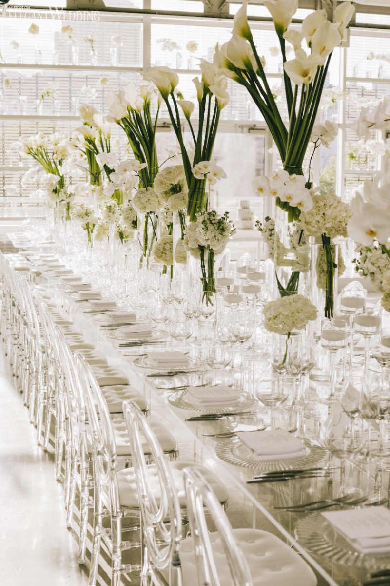 Modern White Wedding With Clear Decor White Wedding Centerpieces