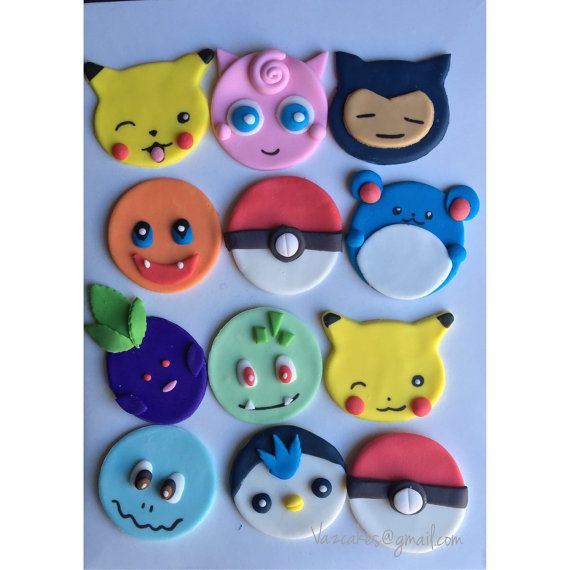 1 dozen Pokémon inspired Cupcake Toppers by Vazcakes on Etsy