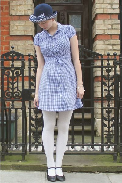 Gingham Tucks Baby Doll Sleeves Mini White Tights