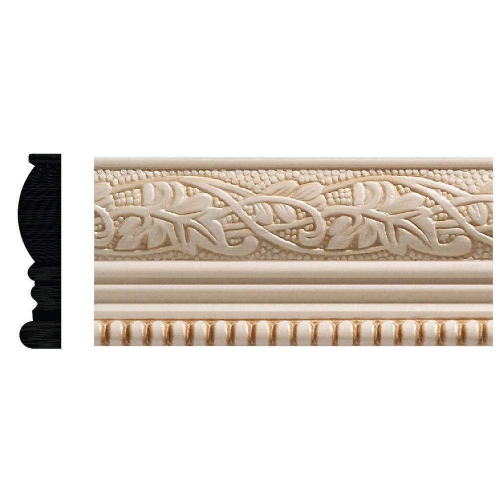 Ornamental Mouldings 1825 1 2 In X 2 1 4 In X 96 In White Hardwood Embossed Ivy Bead Trim Chair Rail Moulding 1825 8ftwhw The Home Depot Chair Rail Moulding Chair Rail Decorative Mouldings