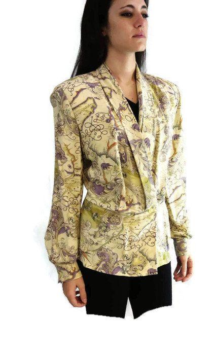 c174cf3db49fa New to 2goodponiesvintage on Etsy  Vintage Dana Buchman - Dana Buchman Silk  Shirt - Old World Map - size 8 - Peplum Tops (24.99 USD)