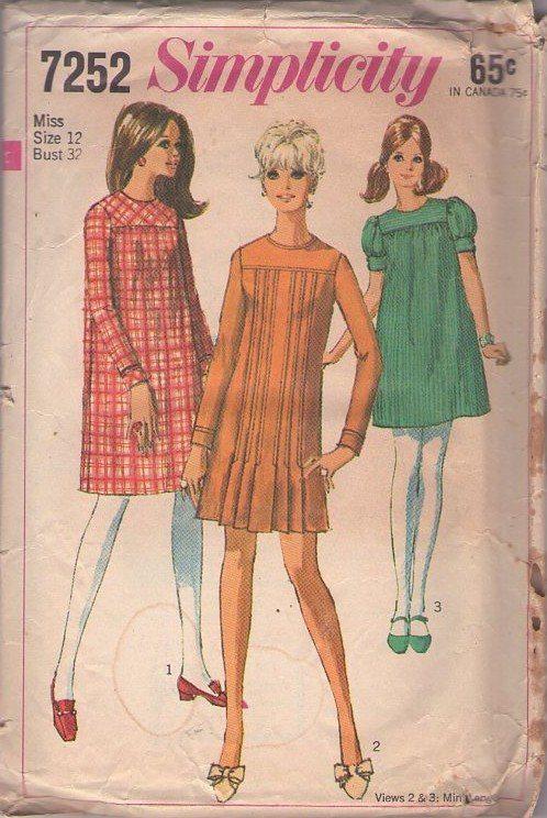 Momspatterns Vintage Sewing Patterns Simplicity 7252 Vintage 60 S Sewing Pattern Ado Simplicity Patterns Vintage Vintage Dress Patterns Retro Sewing Patterns