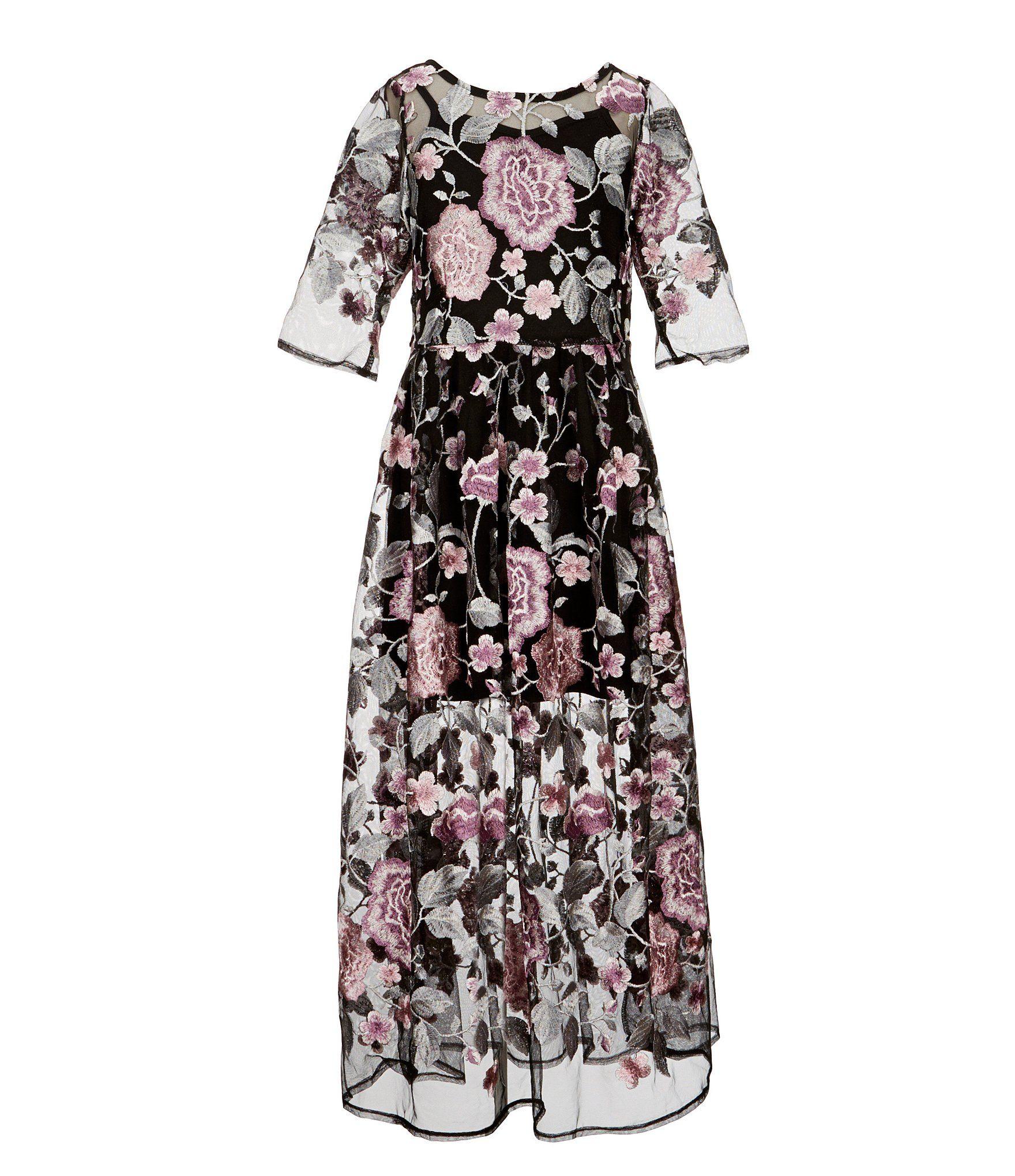 f36780ea670 Shop for Pippa   Julie Big Girls 7-14 Floral-Embroidered Maxi Dress ...