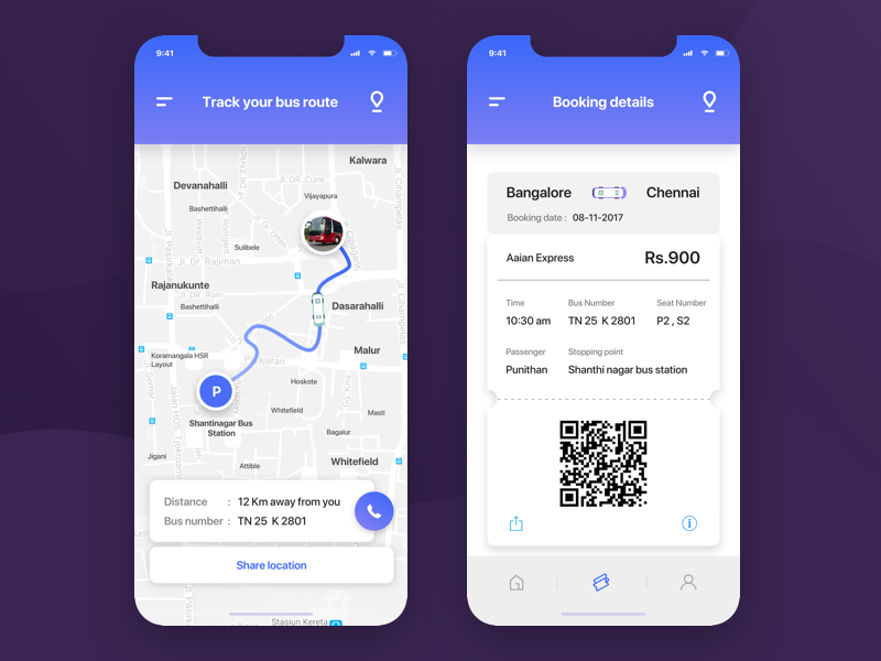 Bus ticket map & confirmation Bus app, Bus tickets